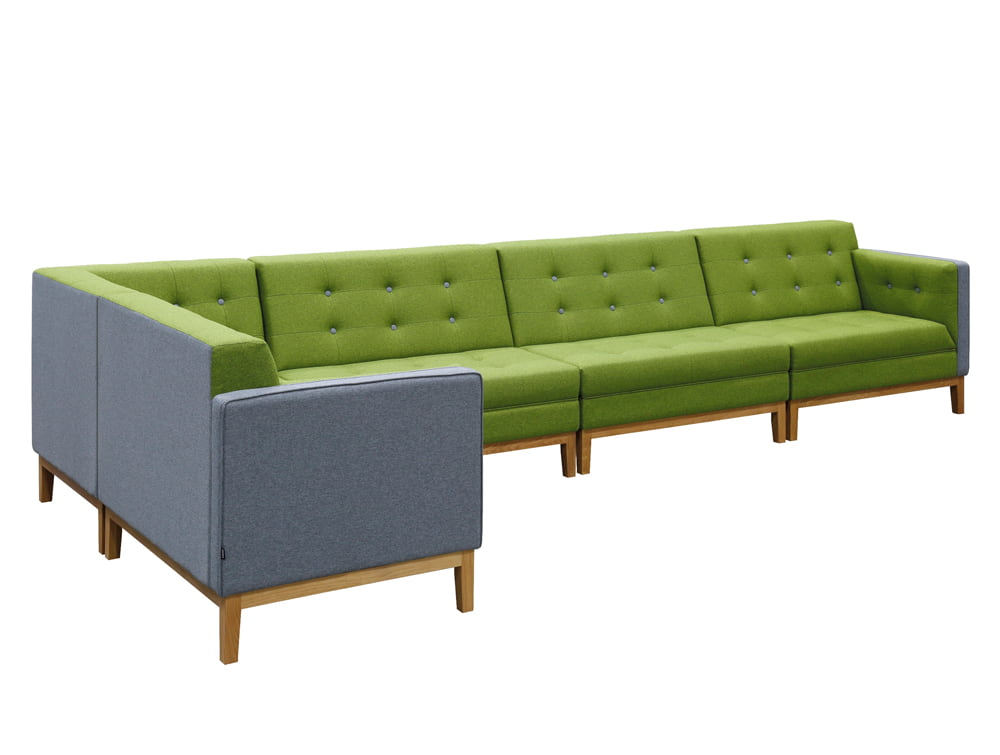 Jig Modular Low Back Soft Seating with Corner End and Straight Unit in Green and Grey