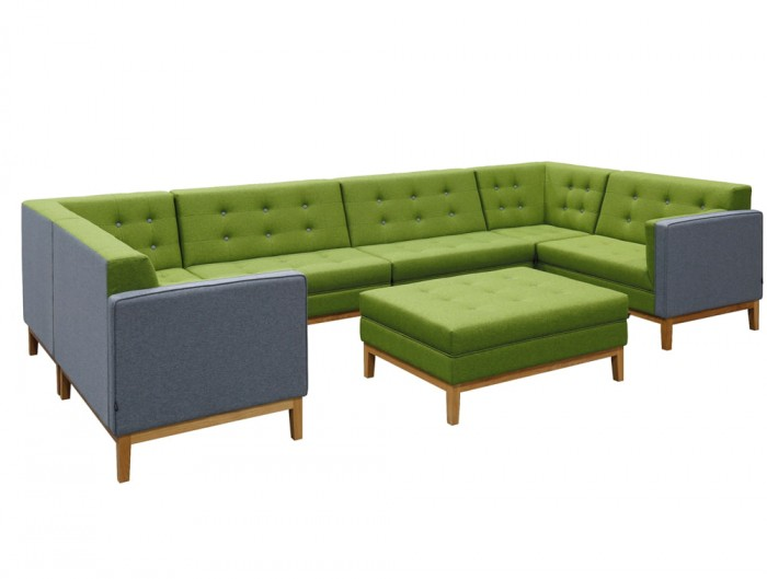 Jig Modular Low Back Soft Seating with Upholstered Coffee Table for Reception Area