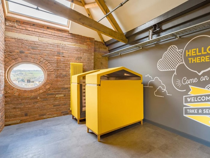 Jig Shed Modern Acoustic Yellow Seating Pod in Breakout Area