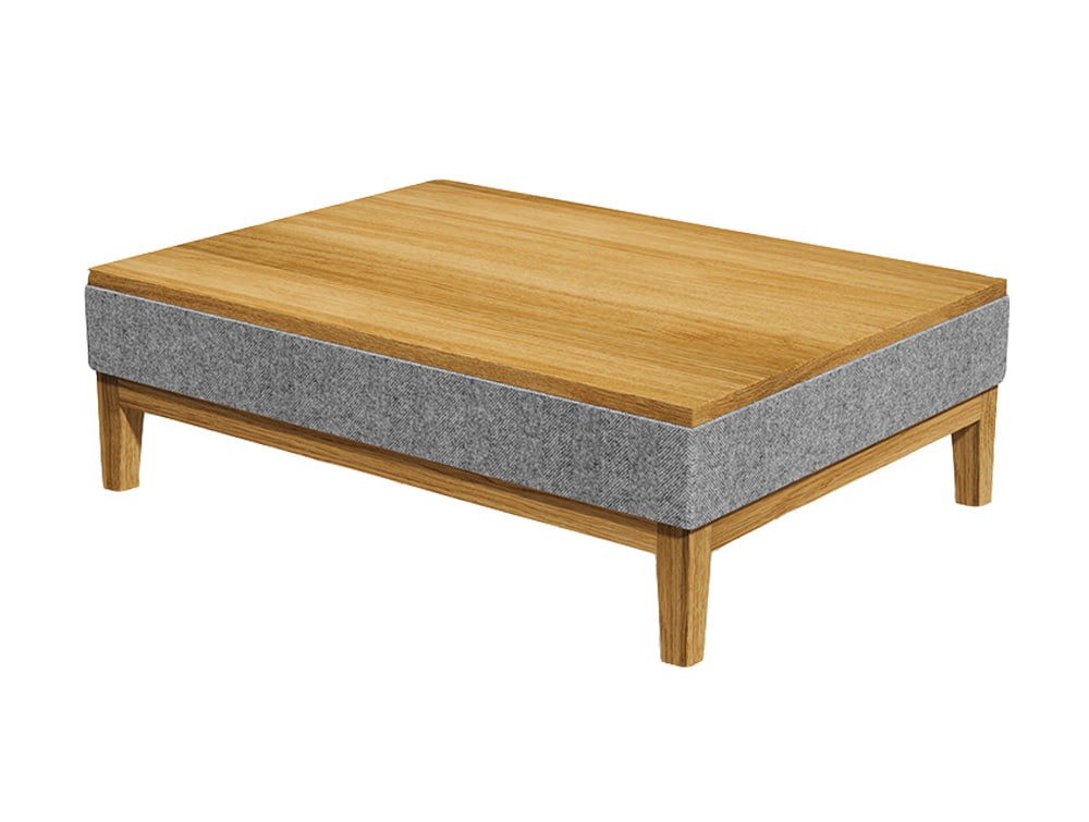 Jig Upholstered Low Coffee Table Wooden and Grey