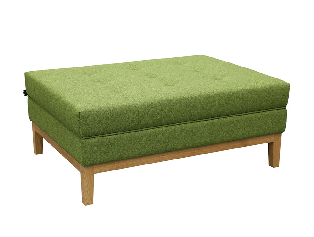 Jig rectangular Ottoman Bench in Green
