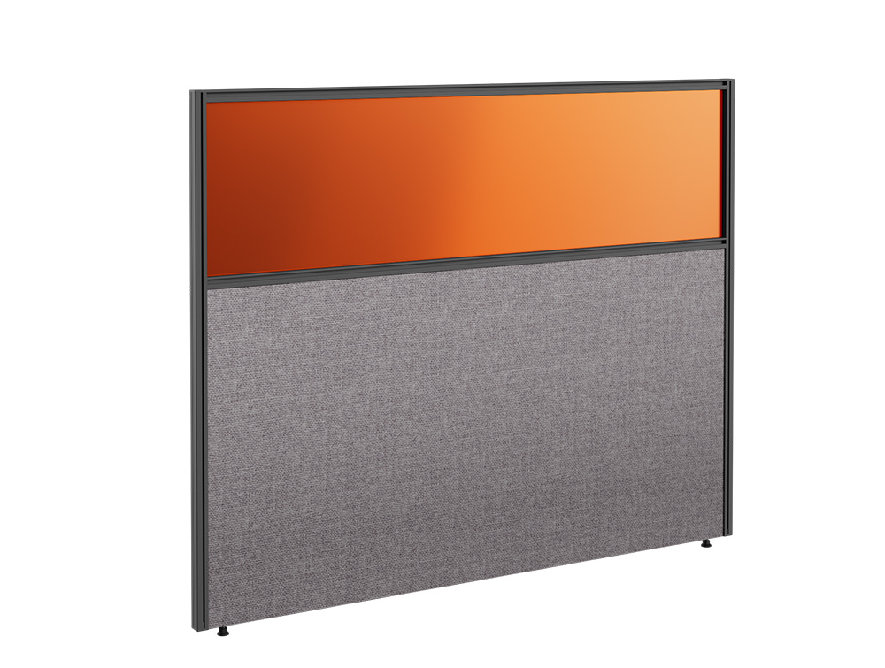 Join Up Freestanding Straight Part Glazed Fabric Screen with Single Toolbar - W1600mm x H1200mm