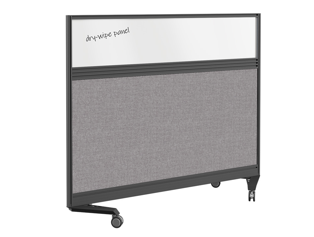 Join Up Mobile Straight Dry Wipe Fabric Screen with Single Toolbar - 1800 x 1000mm