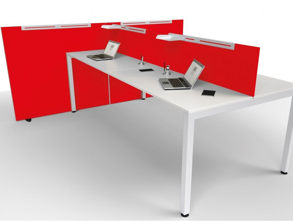 Jump  desk screen and freestanding screens in red