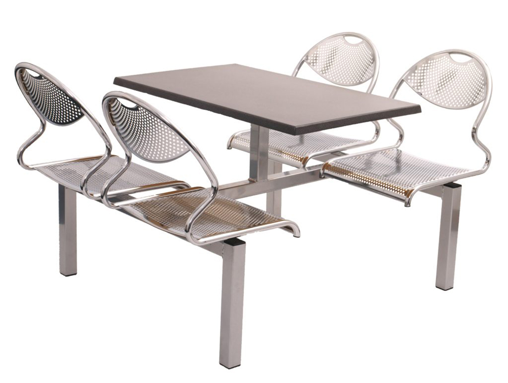 Juniper Fast Food Fixed Grey Table and Silver Frame Polished Chrome Perforated Metal Seats