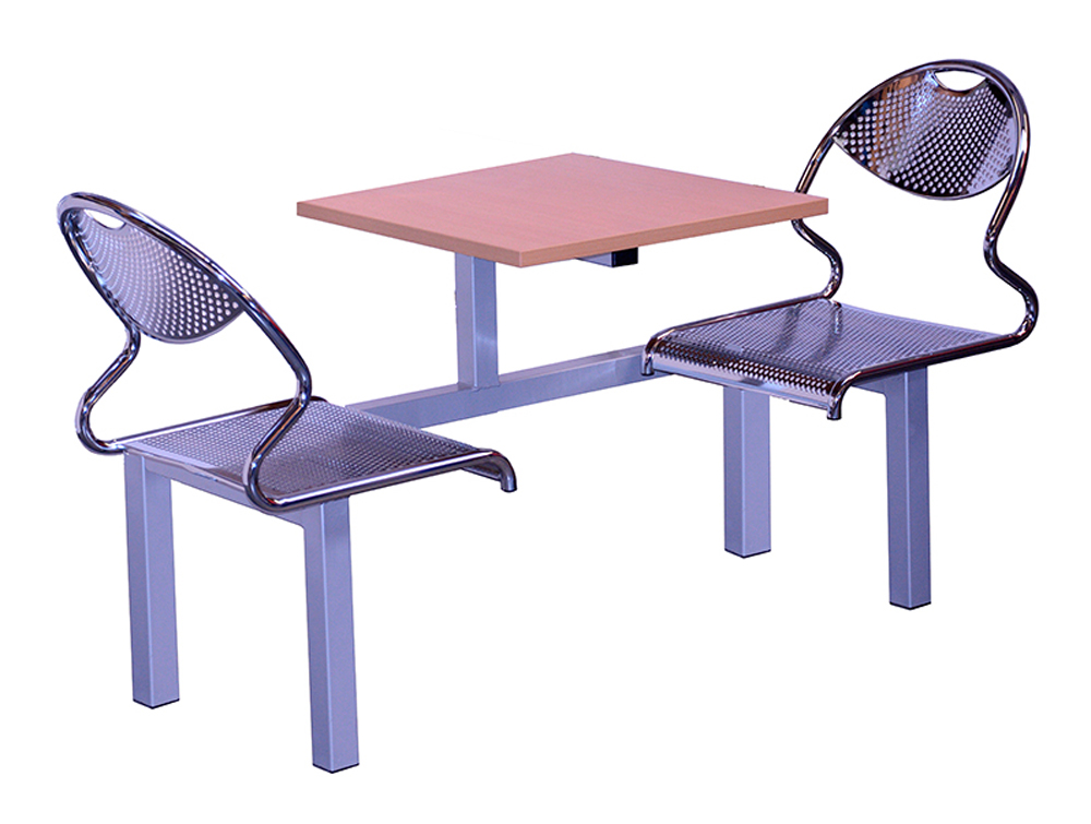 Juniper Fast Food Fixed Table and Chair Two Seater Single Entry
