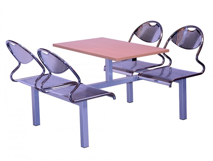 Juniper Fast Food Fixed Table and Chairs Four Seaters Double Entry