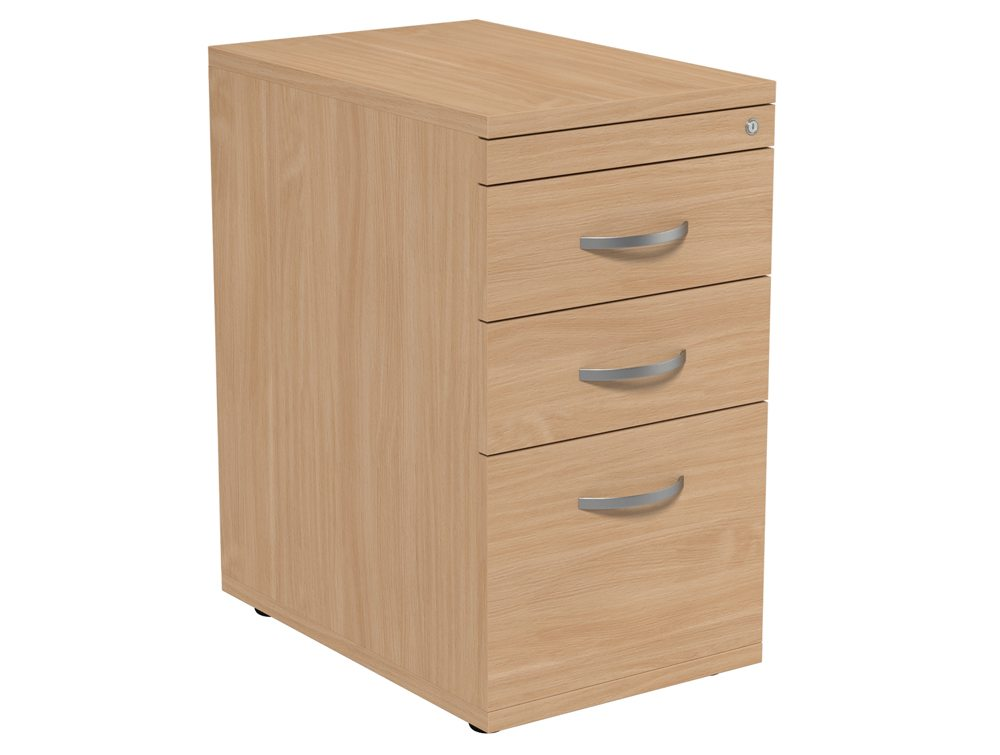 Kito 3 Drawer Desk High Pedestal In Beech