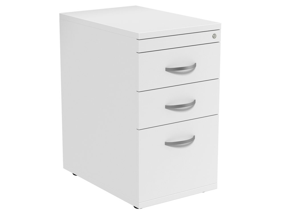 Kito 3 Drawer Desk High Pedestal 6-WH in White 600mm
