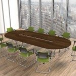 Kito Boardroom Table In Dark Walnut And Colorful Chairs
