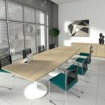 Kito Boardroom Table With Oak Top And White Base