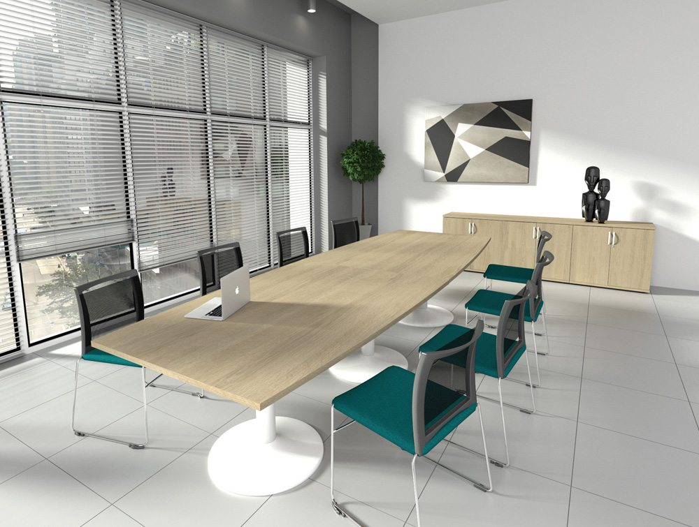 Kito Small DEnd Meeting Table With Panel Leg Base In Walnut - Small boardroom table