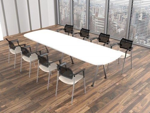 Kito Boardroom Table With White Top And Black Mesh Chairs