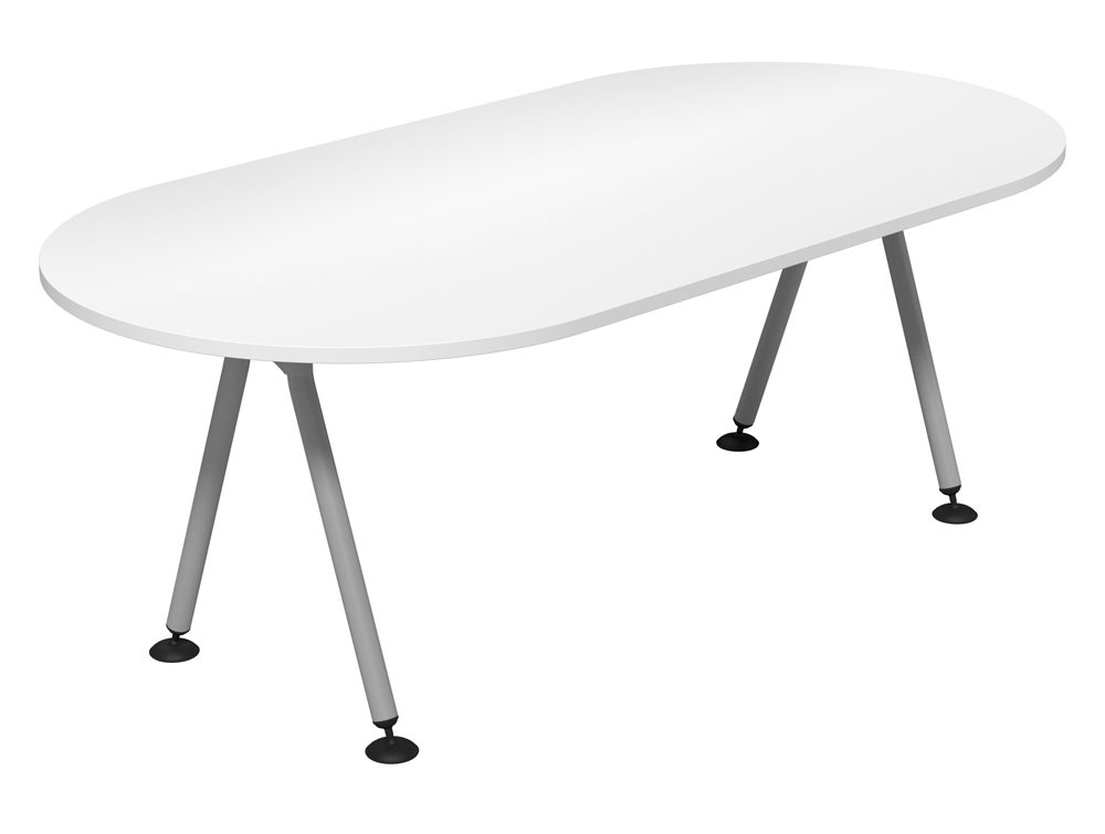 Kito D-End Meeting Table with Double A-Frame Legs in White