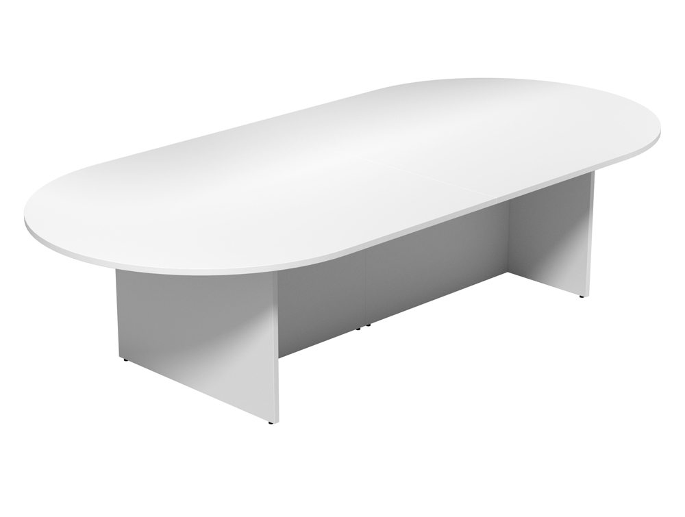 Kito Large DEnd Boardroom Table With Panel Leg Base In White - White oval conference table