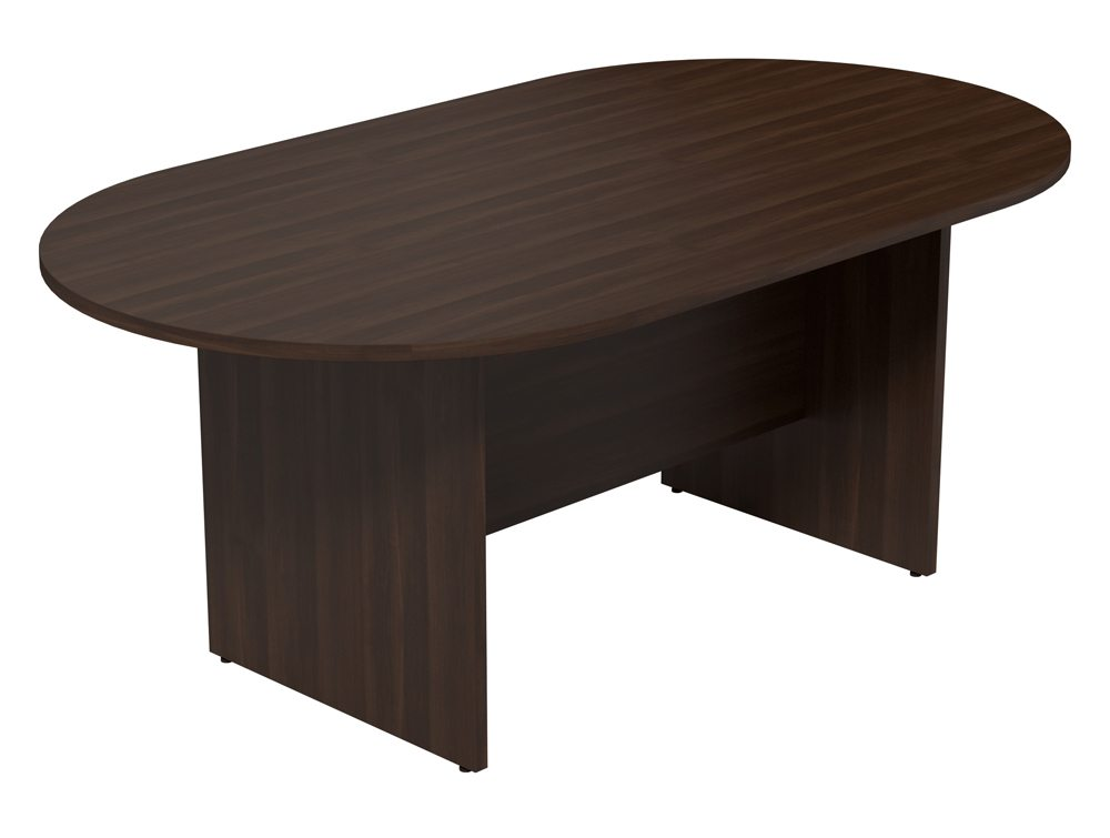 kito small d end meeting table with panel leg base in walnut - Small Conference Table