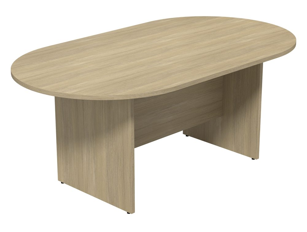 Kito Small D End Meeting Table With Panel Leg Base In Oak