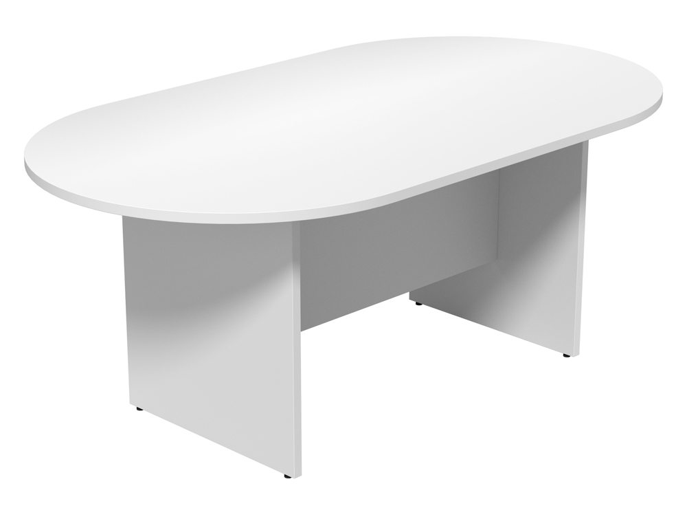 Kito Small DEnd Meeting Table With Panel Leg Base In White - White oval conference table