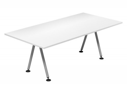 Kito Meeting Rectangular Meeting Table Double A Frame Leg Base Wh Slv 2010
