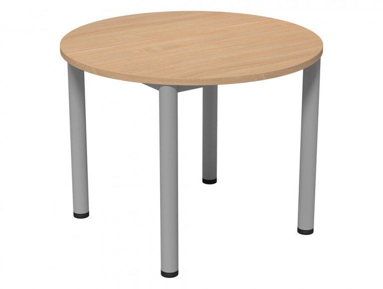 Kito Meeting Round Meeting Table Double Tubular Leg Base 950d Be Slv