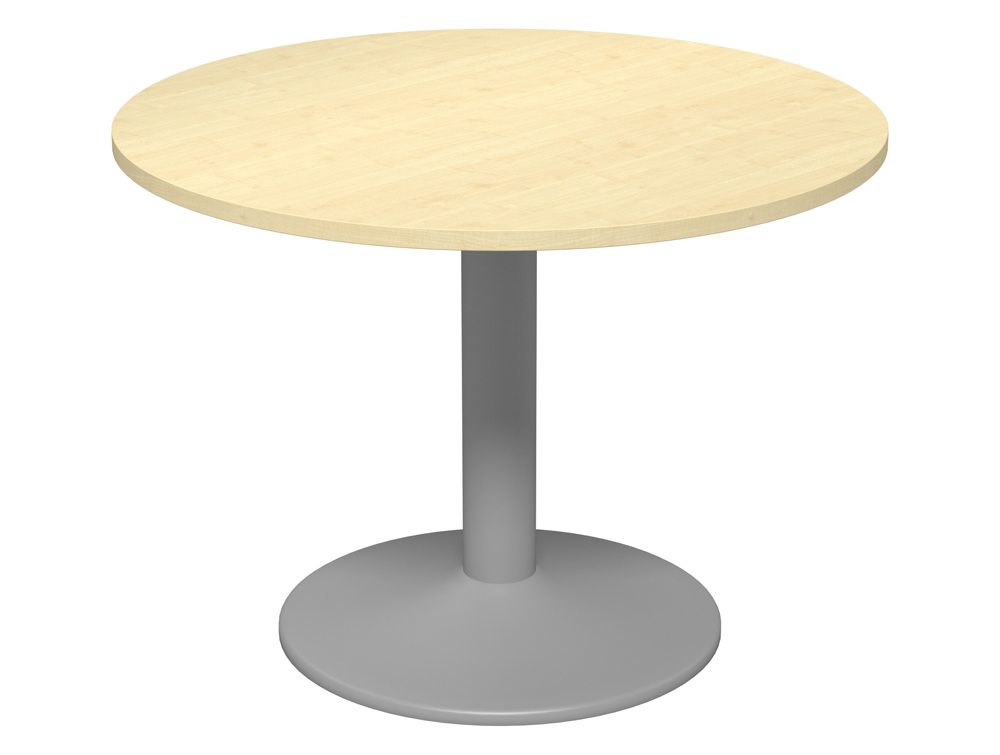 kito round meeting table with trumpet leg in maple