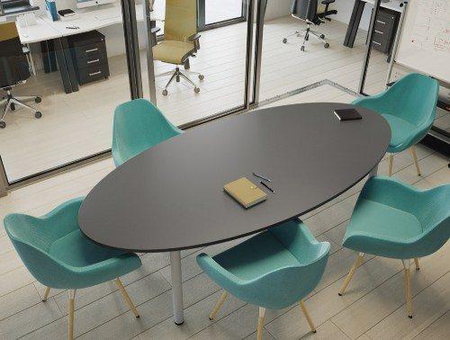 Kito Oval Black Meeting Table With Tubular Leg