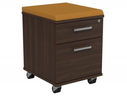 Kito Underdesk Mobile Pedestal with Cushion KO21K2-DW-EV-18 in Dark Walnut 2-Drawer