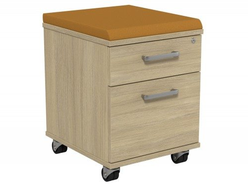 Kito Underdesk Mobile Pedestal with Cushion KO21K2-UO-EV-18 in Urban Oak 2-Drawer