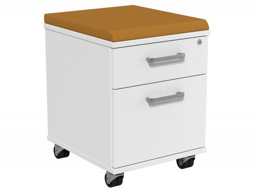 Kito Underdesk Mobile Pedestal with Cushion KO21K2-WH-EV-18 in White 2-Drawer