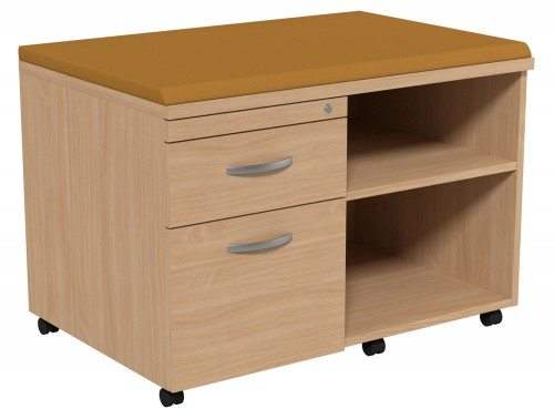 Kito Underdesk Mobile Unit with Big Cushion BE-EV-18-L in Beech