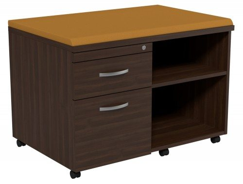 Kito Underdesk Mobile Unit with Big Cushion DW-EV-18-L in Dark Walnut