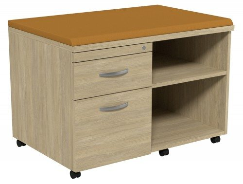 Kito Underdesk Mobile Unit with Big Cushion UO-EV-18-L in Urban Oak