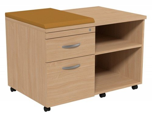 Kito Side Pedestal With Storage Underdesk Mobile Unit Small Cushion BE EV 18 L In Beech
