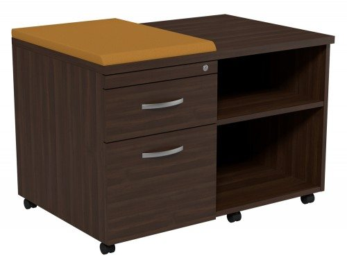 Kito Underdesk Mobile Unit with Small Cushion DW-EV-18-L in Dark Walnut