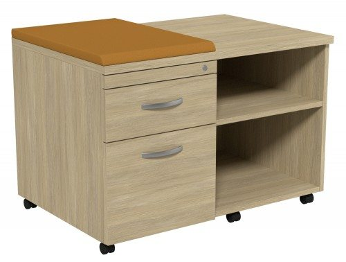 Kito Underdesk Mobile Unit with Small Cushion UO-EV-18-L in Urban Oak