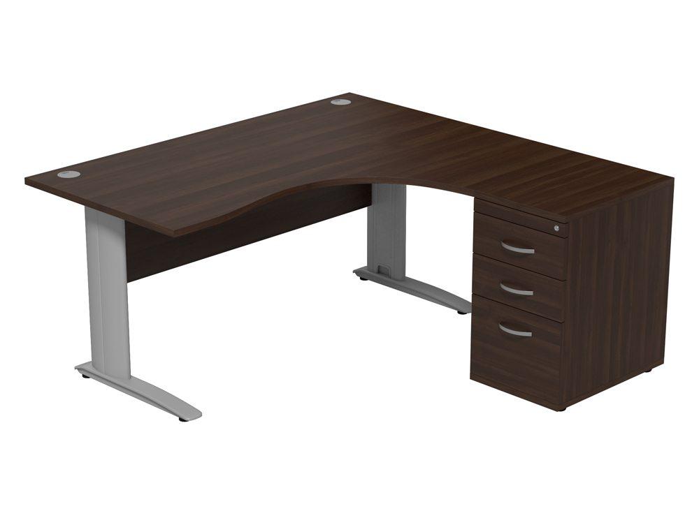 Komo Komo Crescent Desk With Pedestal DW-R-SLV-1612