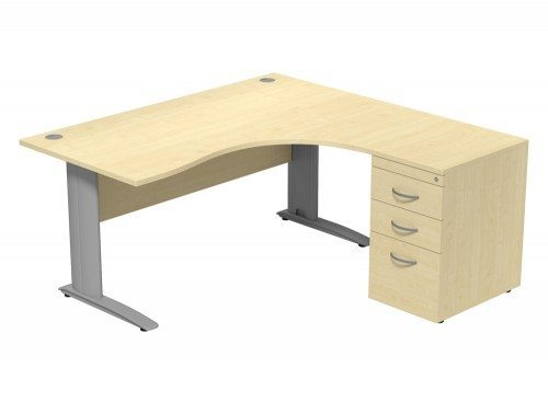 Komo Komo Crescent Desk With Pedestal MP-R-SLV-1612