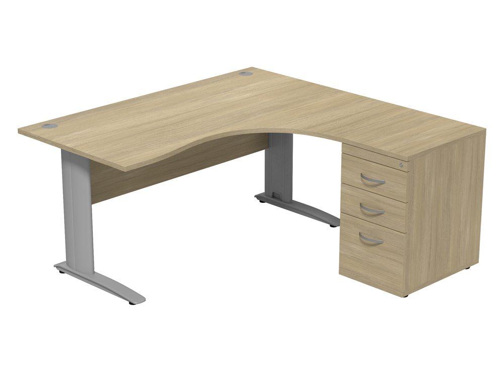 Komo Komo Crescent Desk With Pedestal UO-R-SLV-1612