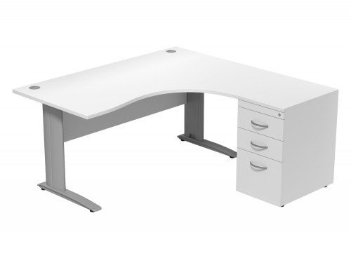 Komo Komo Crescent Desk With Pedestal WH-R-SLV-1612