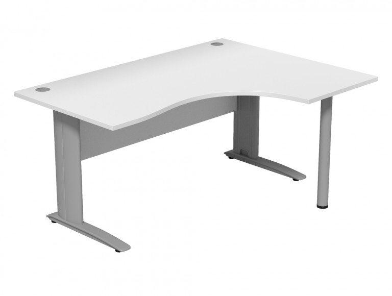 Komo Komo Crescent Desk With Pole Leg WH-R-SLV-1612
