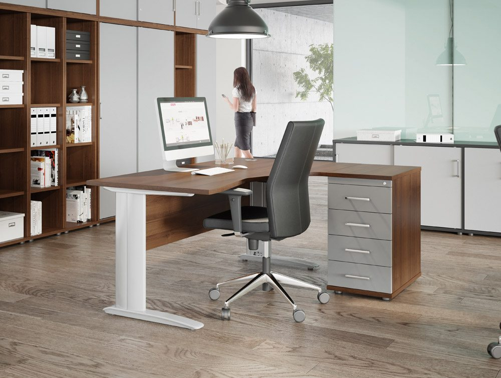 Komo Office Desk With Walnut Top And White Leg