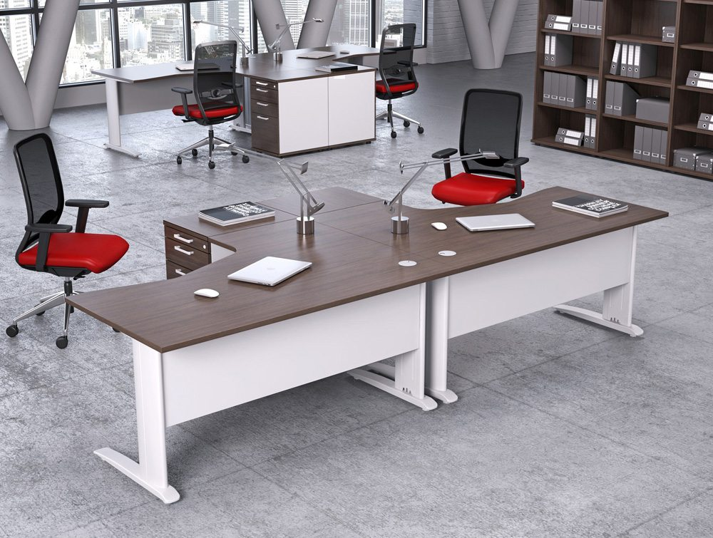 Komo Office Desks in Dark Walnut and White Legs