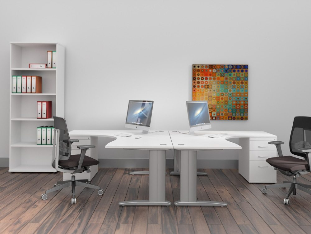 Komo Radial Desks with Pedestals in White and Grey