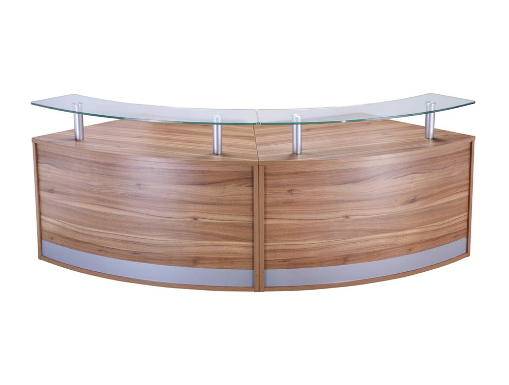 Elite 2-Section Semi Circle Reception Unit in Walnut