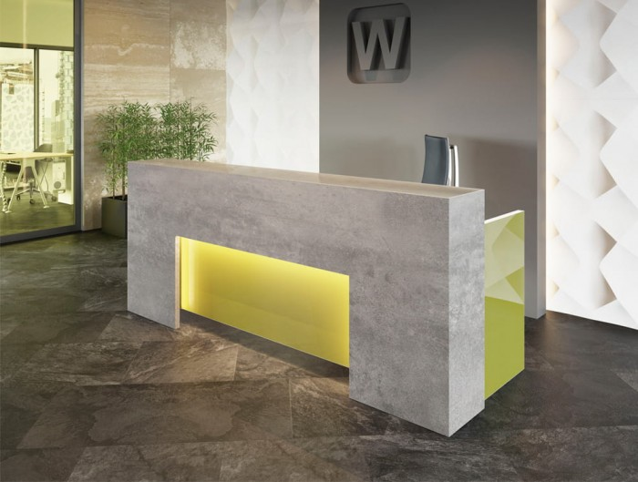 Lada Block Desk Counter in Grey and Grey with LED Lighting in Office