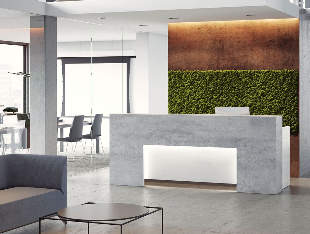 Lada Block Office Reception Desk with Meeting Room Waiting Area Sofa Low Coffee Table and Chair