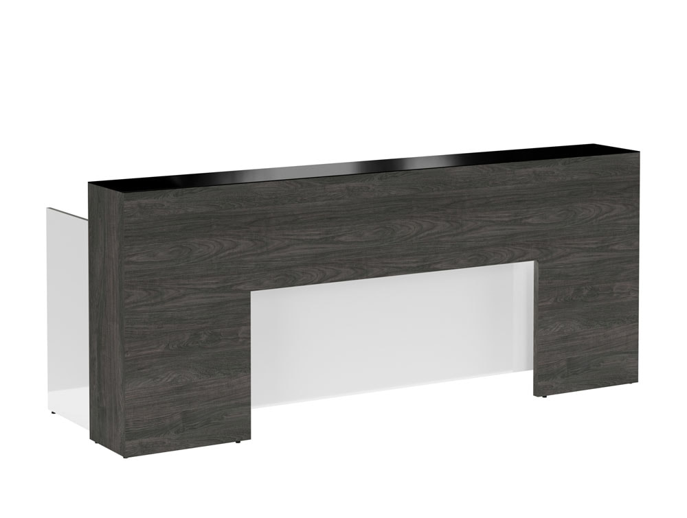 Lada Block Reception Counter Wood Carbon Walnut Black Glass and Icy White Acrylic