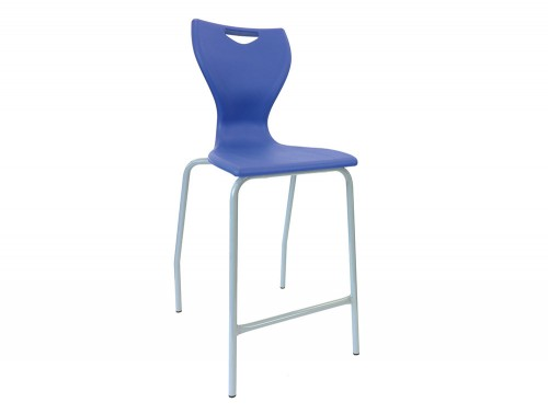Laura 4 Legs High Stool for School Canteen in Blue