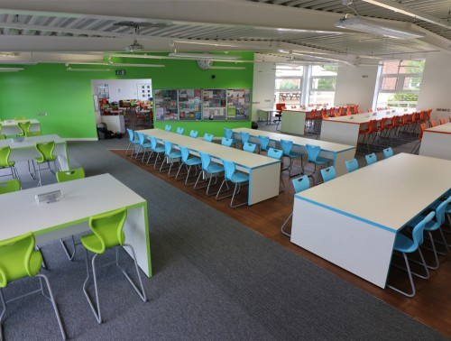 Laura High Stool and Chair with Skid Base for Breakout and Working School Areas with Power Point in Green Blue and Orange
