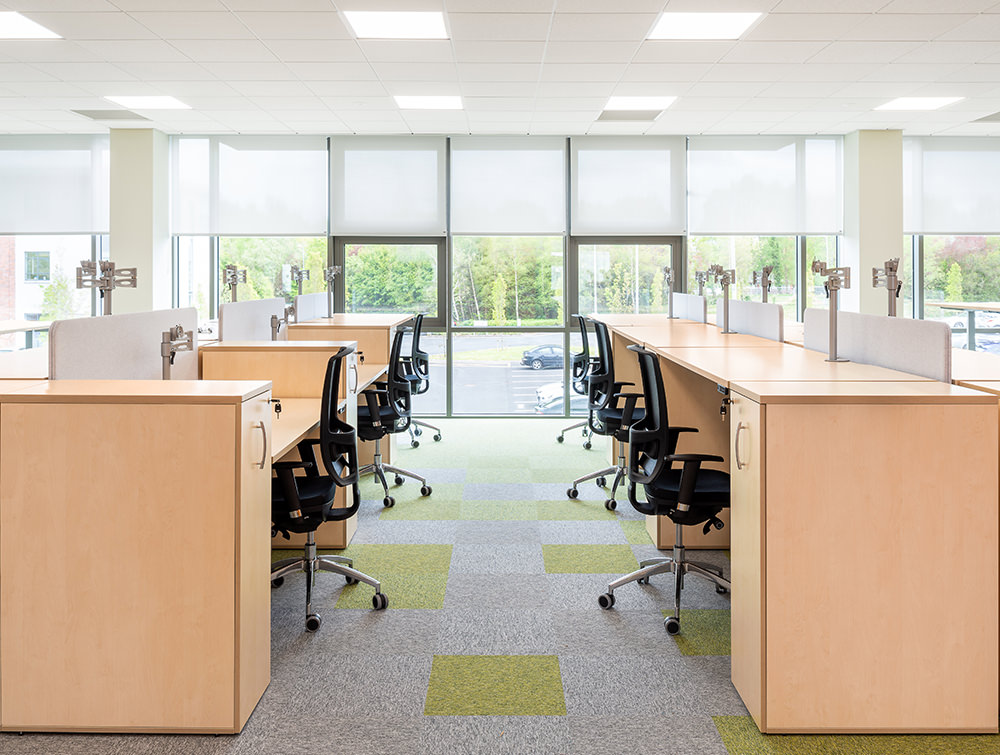 Leap Adjustable Desks with Pedestals Ergonomic Monitor Arms and OZ Mesh Office Chairs